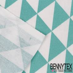 Coton Impression Motif Triangle Turquoise fond Blanc