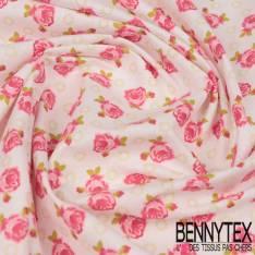 Coton Impression Motif Petites Roses fond Blanc