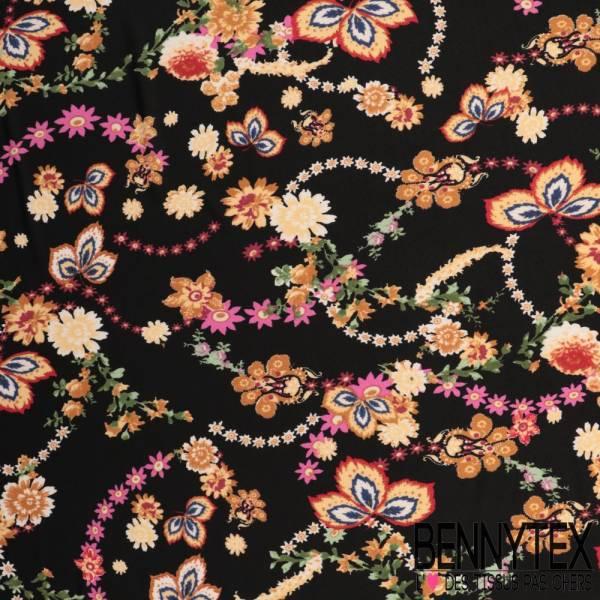 Maille Jersey Crêpée Polyester Imprimé Guirlande Florale fond Noir