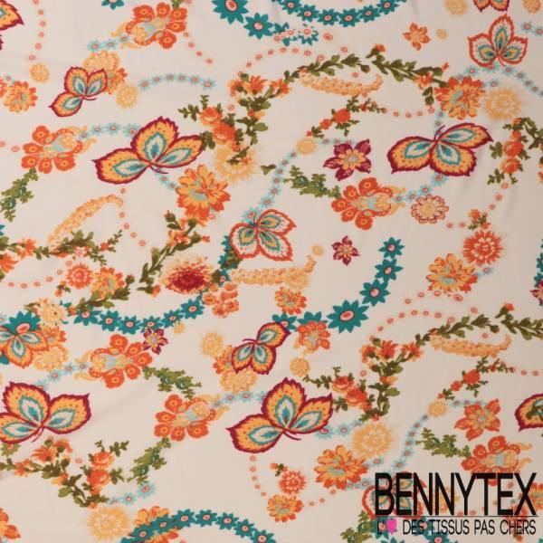 Maille Jersey Crêpée Polyester Imprimé Guirlande Florale fond Ecru