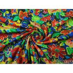 Coton imprimé fleur rose jaune bleue