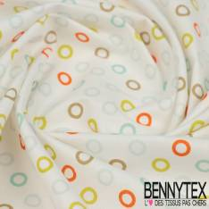 Coton Impression Motif Petit Triangle Taupe et Blanc Successif