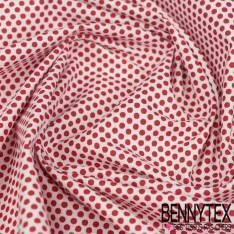 Coton Impression Motif Petites Roses à l'heure du Thé fond Blanc