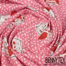 Coton Impression Motif Petite Chouette Rigolotte fond Rose