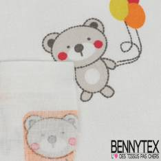 Coton Impression Motif Petit Ours et ses Ballons Orange Rouge et Anis fond Ecru