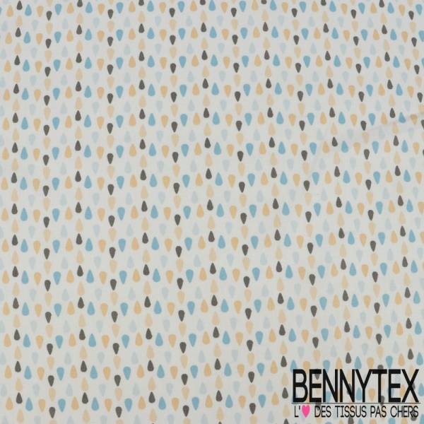 Coton Impression Motif Petite Goutte de Pluie Bleu Sable et Grise fond Ecru