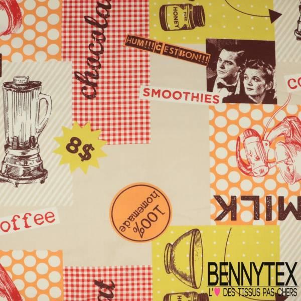 Coton Impression Motif Petit Déjeuner fond Nappe Multicolore Fantaisie