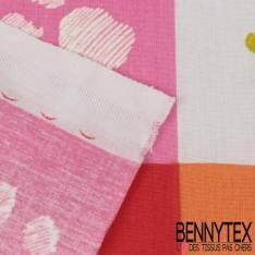 Coton Impression Motif Empreinte de Patoune de Chien sur quadrillage Multicolore