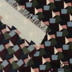 Microfibre Imprimé Motif Petit Vitrail Kaki Aubergine Marine Ciel et Rose
