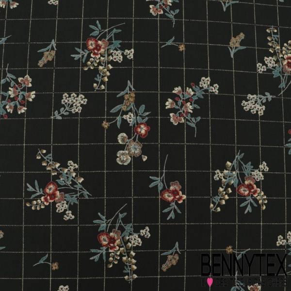 Microfibre Imprimé Motif Fleurs et Quadrillage effet Cellier fond Vert Mélèse