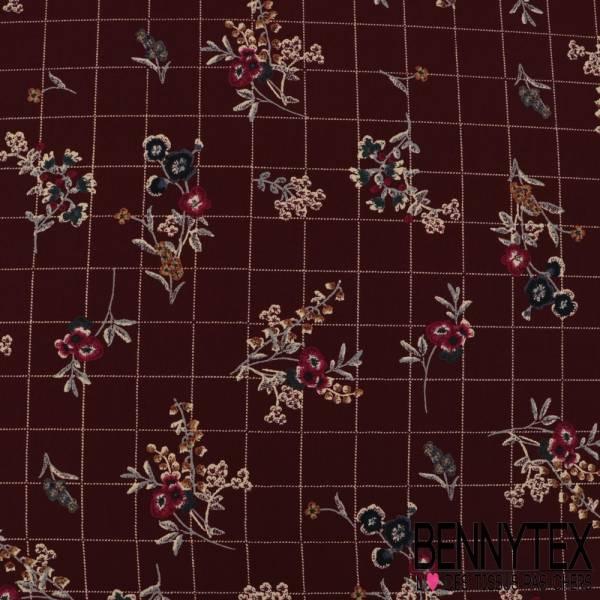 Microfibre Imprimé Motif Fleurs et Quadrillage effet Cellier fond Bordeaux