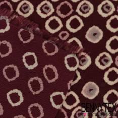 Microfibre Double Base Imprimé Pois Fantaisie fond Bordeaux