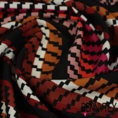 Microfibre Imprimé Motif Rayure Pixelisée multicolore fond Noir