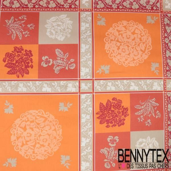 Coton Enduit Impression Motif Nappe Esprit Baroque Camaïeu de Orange