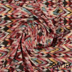 Microfibre Imprimé Motif Rayure Fantaisie Zigzag Azteque Camaïeu de Rose