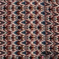 Microfibre Imprimé Motif Rayure Fantaisie Zigzag Azteque Camaïeu de Bleu