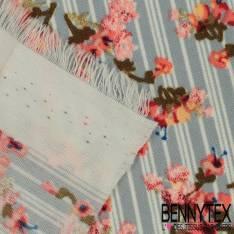 Microfibre Imprimé Fine Rayure Bleu Ecru Style Matelas avec Petite Rose Style British