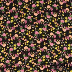 Crêpe Polyester Semi Fluide Imprimé Rose et Pissenlit en Folie fond Noir