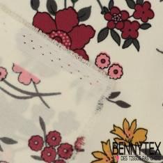 Crêpe Polyester Semi Fluide Imprimé Fleurs Champêtre estivales fond Blanc Cassé