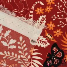 Microfibre Imprimé Motif Tigre dans la Savane fond Rouille