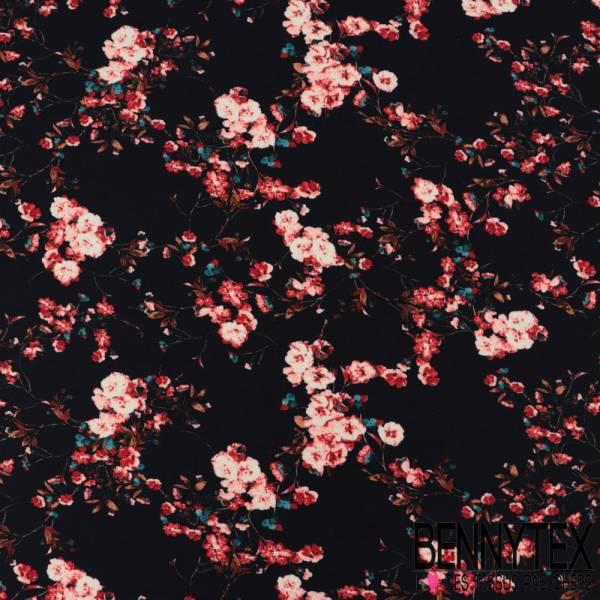 Microfibre Imprimé Motif Rosier Rose fond Nuit
