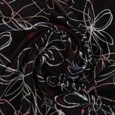 Microfibre Imprimé Motif Ebauche de Marguerite avec effet Pointillisme Embaussé fond Nuit