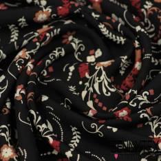 Microfibre Imprimé Motif Petite Fleur esprit Baroque fond Noir