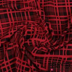 Crêpe Polyester Semi Fluide Effet Crépon Impression Quadrillage Rouge fond Noir