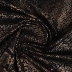 Maille Polyester Gaufré Imprimé Feuille Zébré en Flex Marbré Argent Noir fond Noir