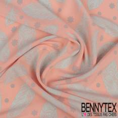 Polyester Elasthanne Plume, Etoile et Point Perle fond Rose