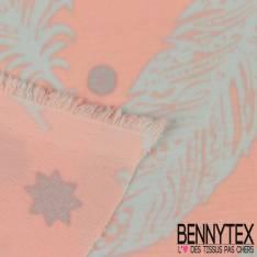 Polyester Elasthanne Plume, Etoile et Point Perle fond Rose