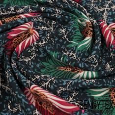 Polyester Elasthanne Fleur Cashemir fond Navy