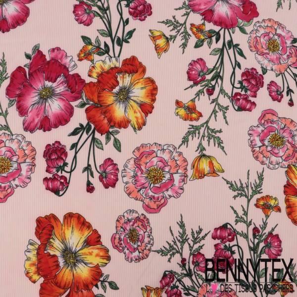 Polyester Elasthanne Fine rayure Verticale Rose et Grosse Fleur Multicolore
