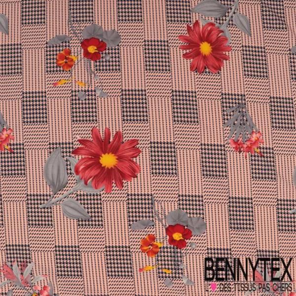 Polyester Elasthanne Quadrillage Pied de Poule Perle avec Fleurs fond Rose