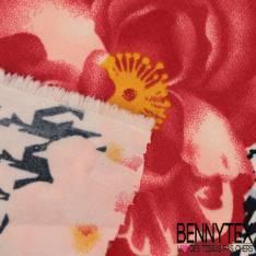 Polyester Elasthanne Quadrillage Pied de Coq Navy avec Pivoine Rouge fond Ecru
