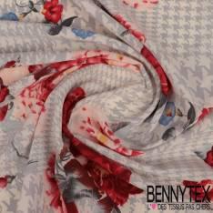 Polyester Elasthanne Quadrillage Pied de Coq Perle avec Pivoine Rouge fond Ecru