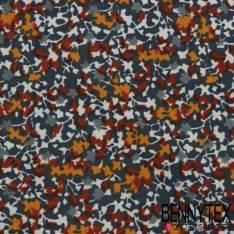 Coupon 3 m Polycoton Impression Motif Floral Effet Lavis fond Denim