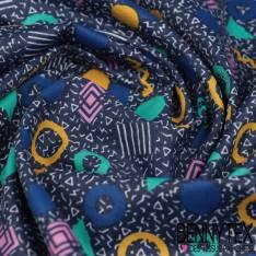 Polycoton Impression Motif Géométrique Rétro Années 80 fond Bleu Gris