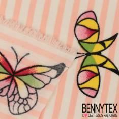 Polyester Elasthanne Rayure Rose et Blanche Verticale avec Envolée de Papillons
