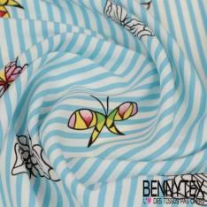 Polyester Elasthanne Rayure Bleu et Blanche Verticale avec Envolée de Papillons