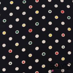 Polyester Elasthanne Pois Fantaisie Multicolore fond Marine