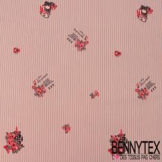 Polyester Elasthanne Fine Rayure Gris Rose et Petit Bouquet Champêtre Noir Rouge