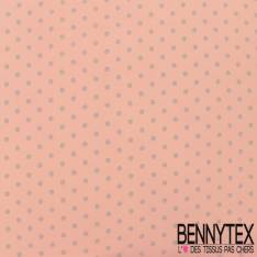 Polyester Elasthanne Petit Pois Gris Perle Fond Rose Blush