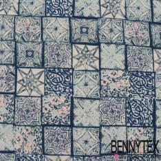 Polyester Elasthanne Petits Carreaux de Ciment Camaïeu de Bleu fond Blanc