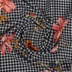 Polyester Elasthanne Motif Petit Vichy Effet Pied de Poule Navy et Fleurs