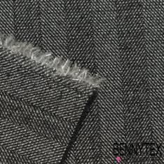 Chambray de laine Noir Métal Argent