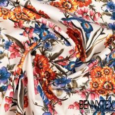 Sergé de Coton Elasthanne Impression Bouquet de Fleurs Champêtres Seventies fond Ecru
