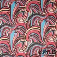 Sergé de Coton Elasthanne Impression Vague Sinusoïdale Psychédélique Seventies
