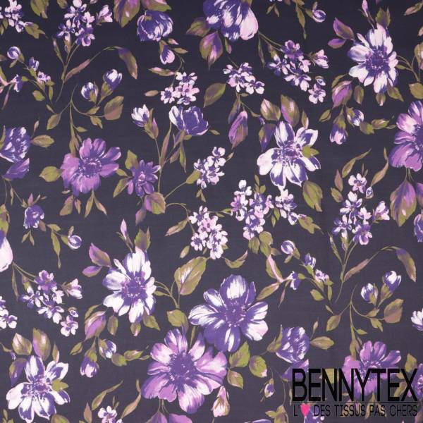 Popeline Coton Elasthanne Impression Motif Fleur Violette fond Aubergine