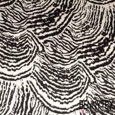 Coton Satin Elasthanne Imprimé Zébrure Vectorielle Noire fond Blanc